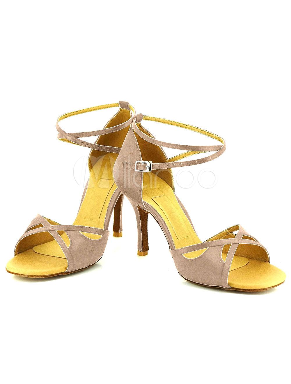 Tobillo correa zapatos Open Toe raso cuerda bobina talón baile zapatos de baile de mujeres vpZkJiM