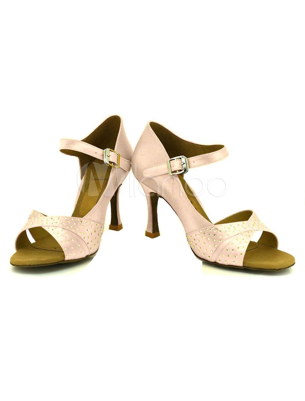 Zapatos de bailes latinos de satén de color albaricoque color liso ztZ6wCL1