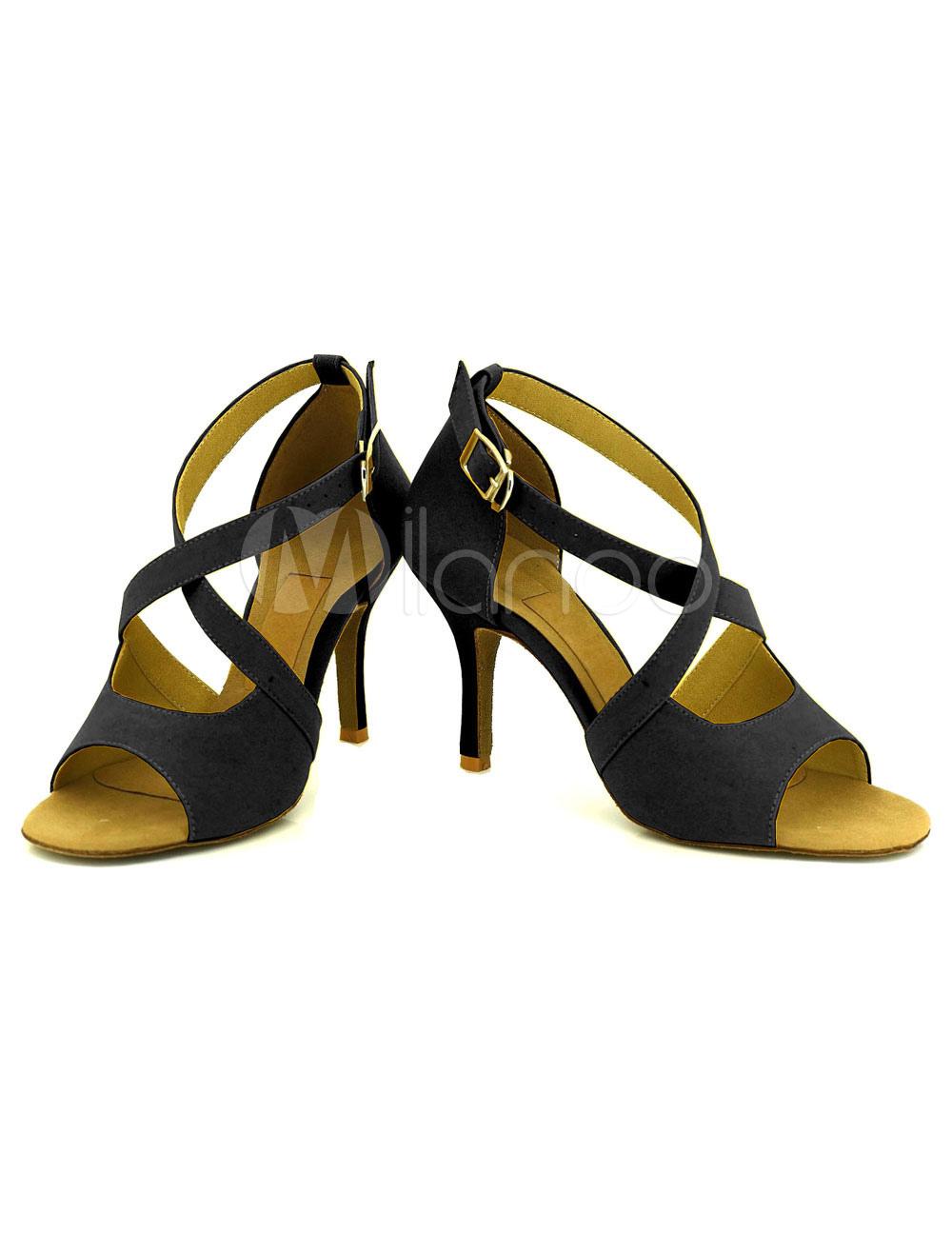 Black Dance Shoes High Heel Women's Criss Cross Open Toe Customized Ballroom Dancing Shoes