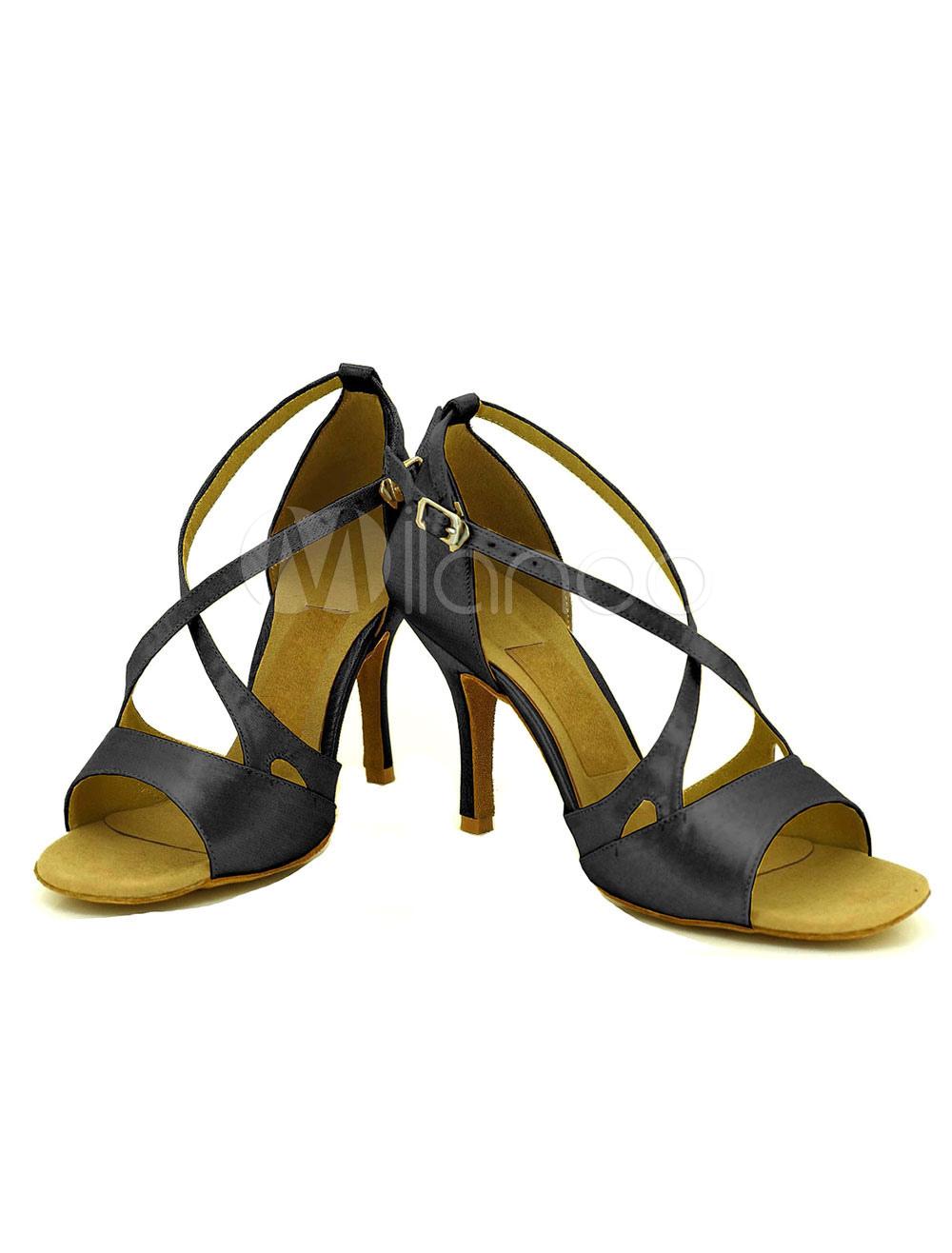 Danza zapatos del alto talón mujeres Cruz correa ajustable baile zapatos de hebilla frontal PFThAvXDa