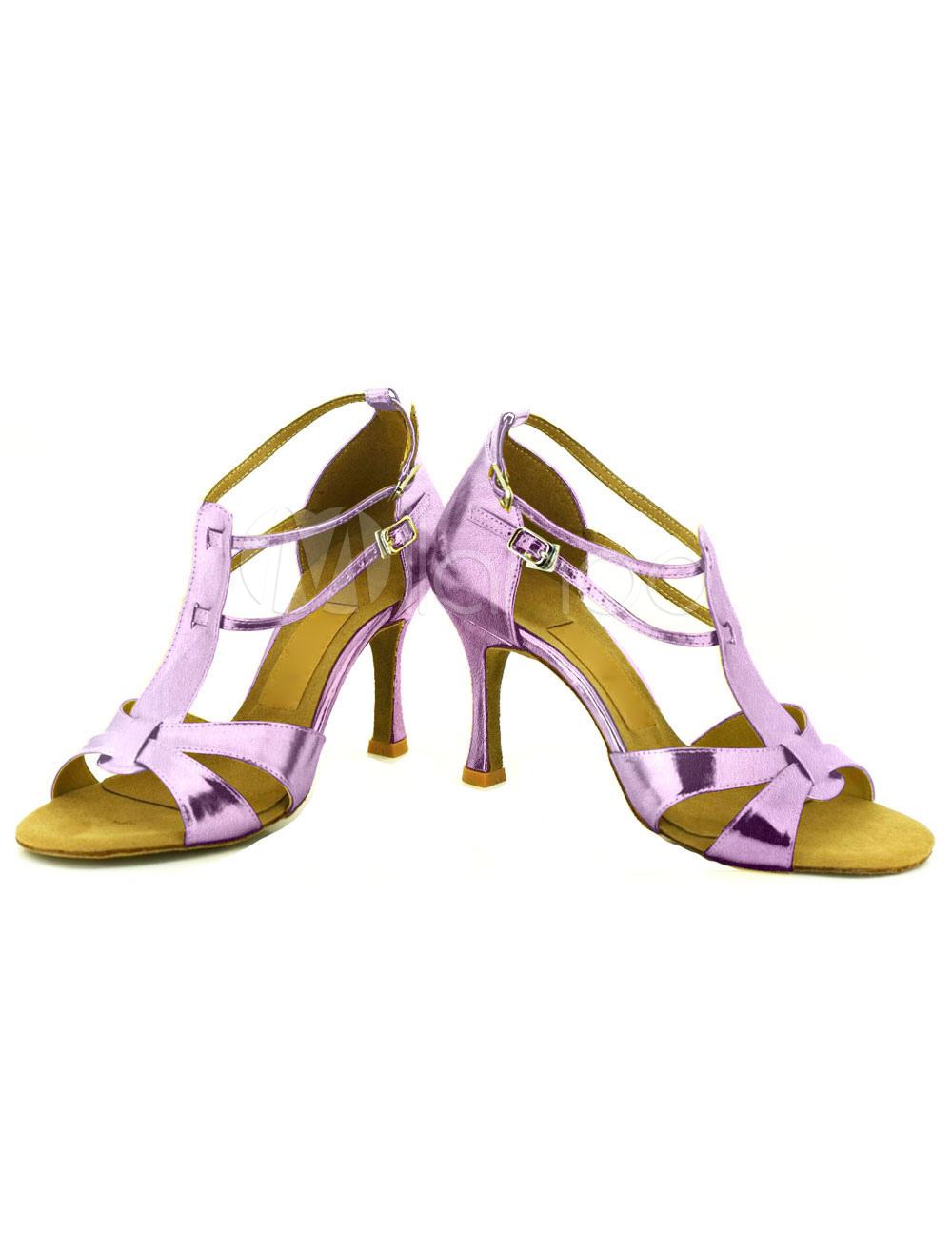 Baile zapatos del alto talón hebilla de las mujeres Cruz frontal abierto salón de baile zapatos lwQpURh