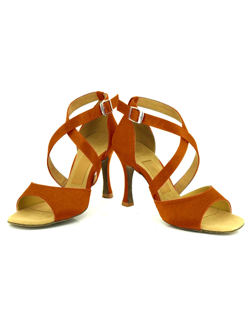 Baile zapatos del alto talón hebilla de las mujeres Cruz frontal abierto salón de baile zapatos FKBvMFrM