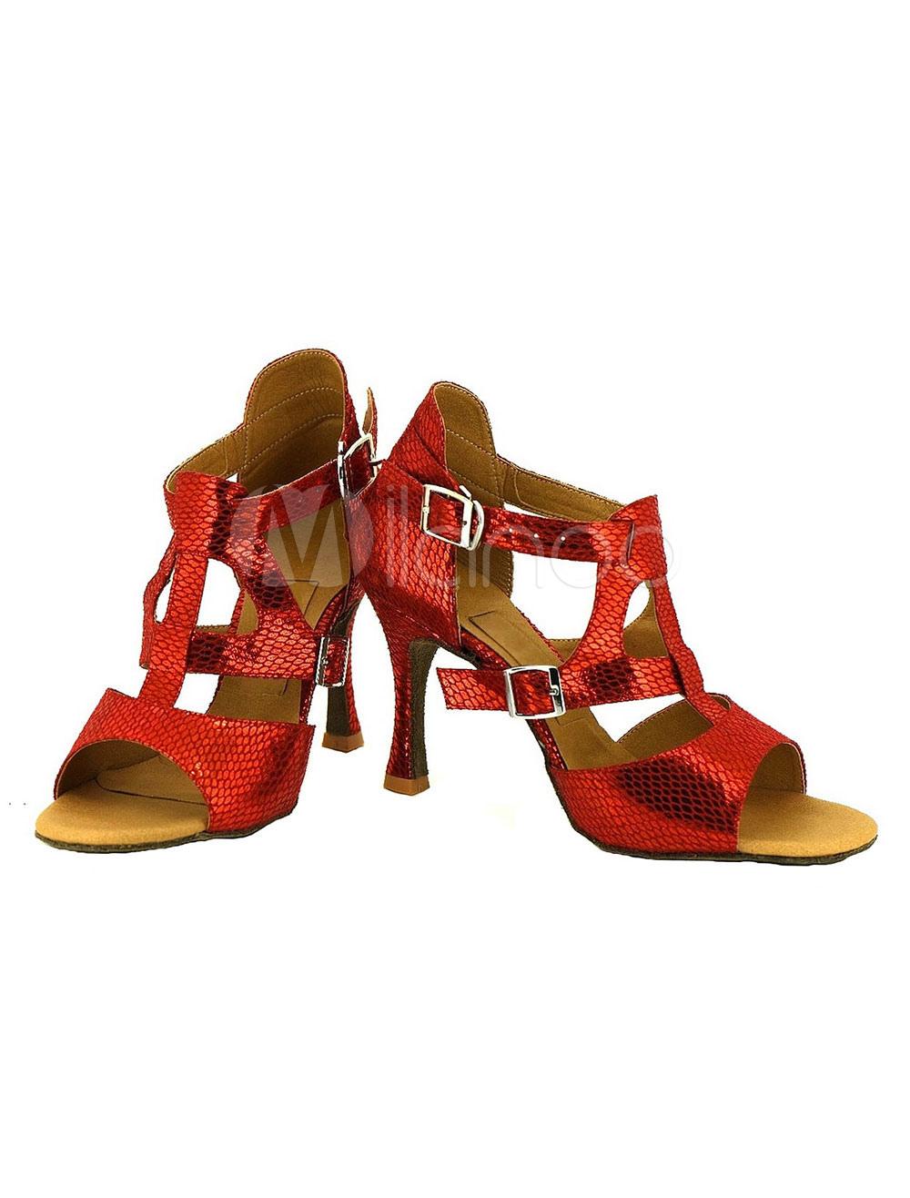 Baile zapatos Snake Print de las mujeres hebillas zapatos de salón personalizado con lentejuelas Vw6vfH