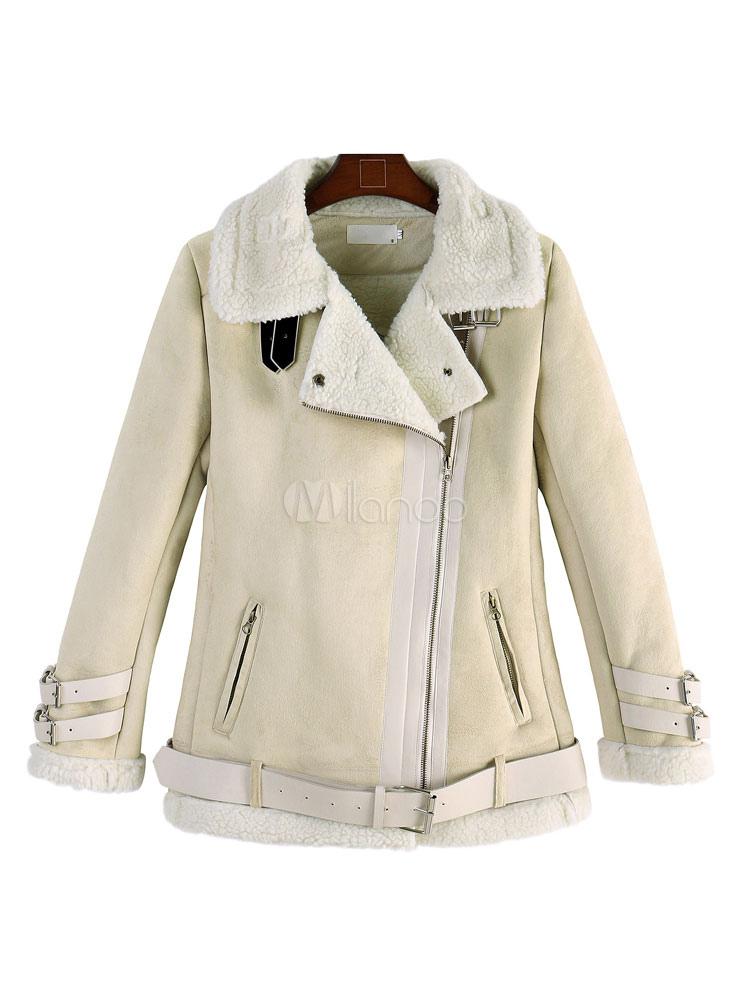 quality design 62beb 432fe Weiße Wildleder Jacke Damen Lambswool Reißverschluss kurze Winter Jacke mit  Gürtel