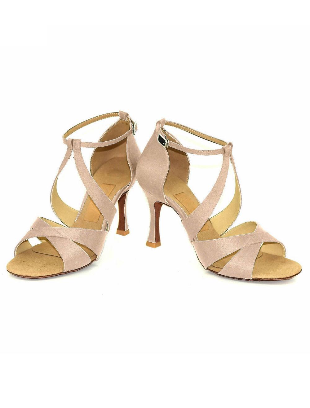Salón de baile de Satén zapatos Open Toe tacón corte correa de tobillo zapatos de baile de modificado para requisitos particulares rPNMsVspz