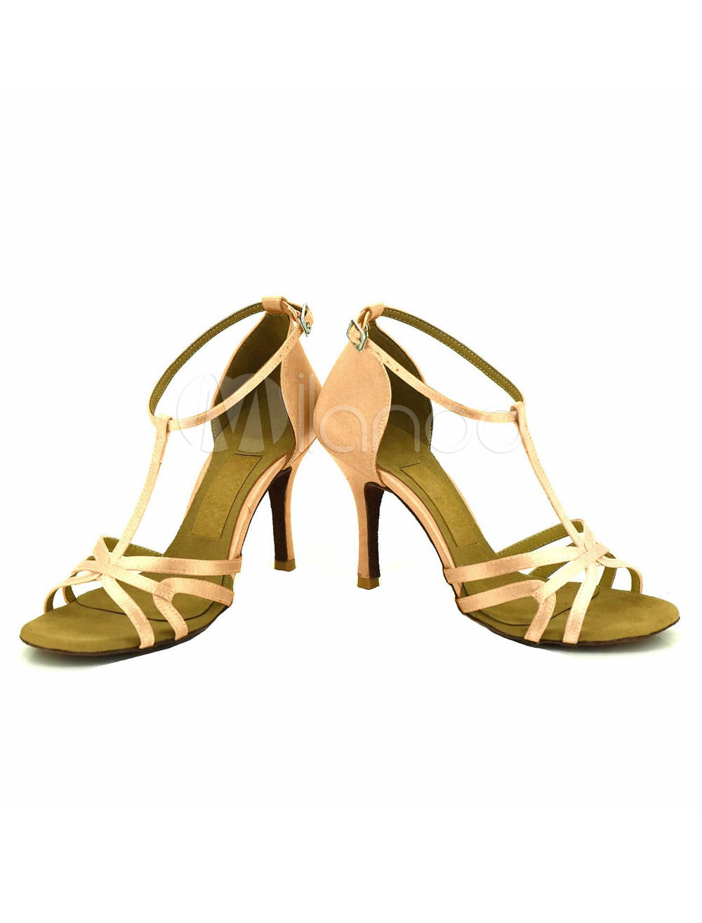 Raso de baile zapatos albaricoque abierto T tipo vendaje abultado punta de aguja zapatos de salón de baile modificado para requisitos particulares EuNr2H