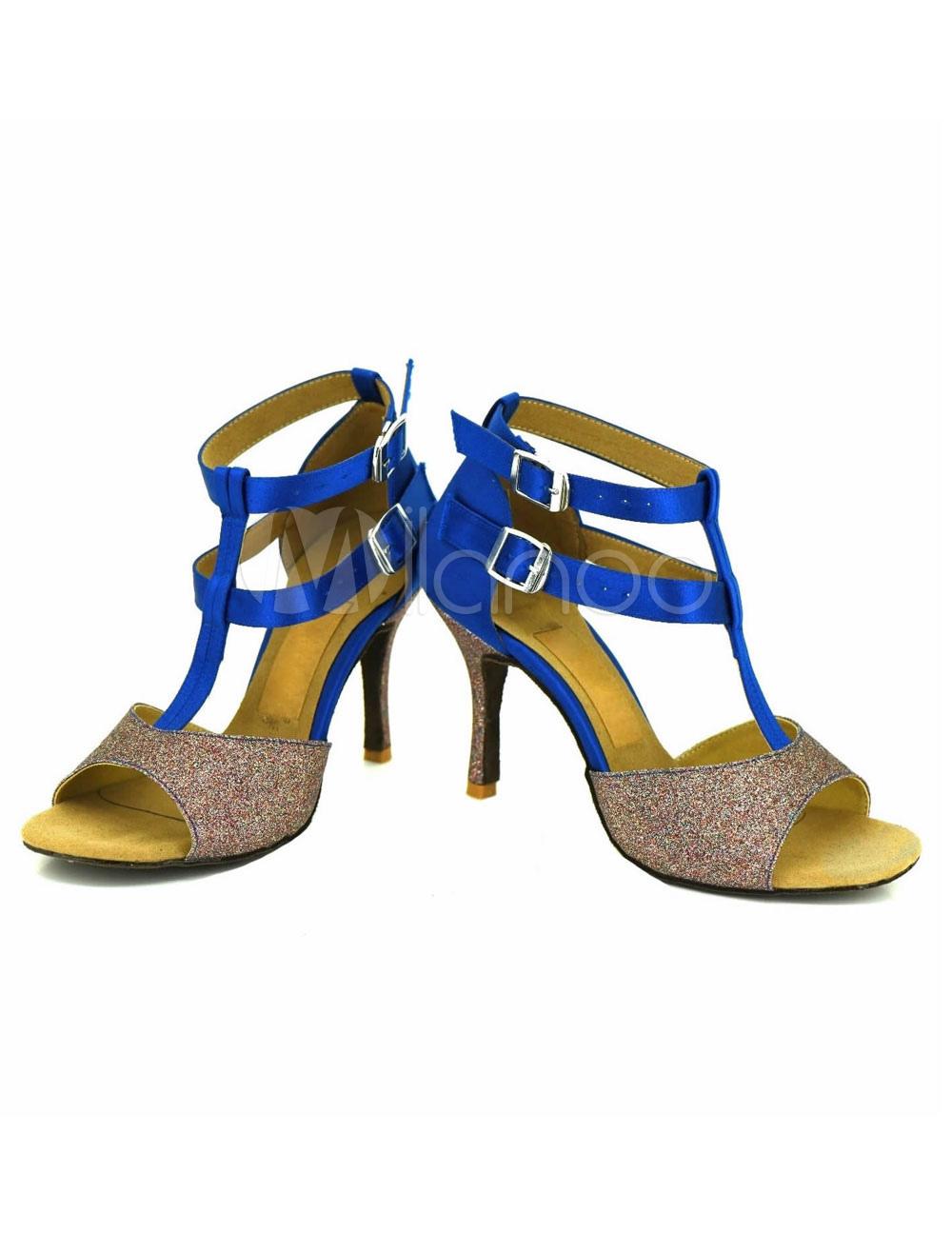 Zapatos baile latino Open Toe tobillo correa satén salón de baile zapatos TNFbm4oH