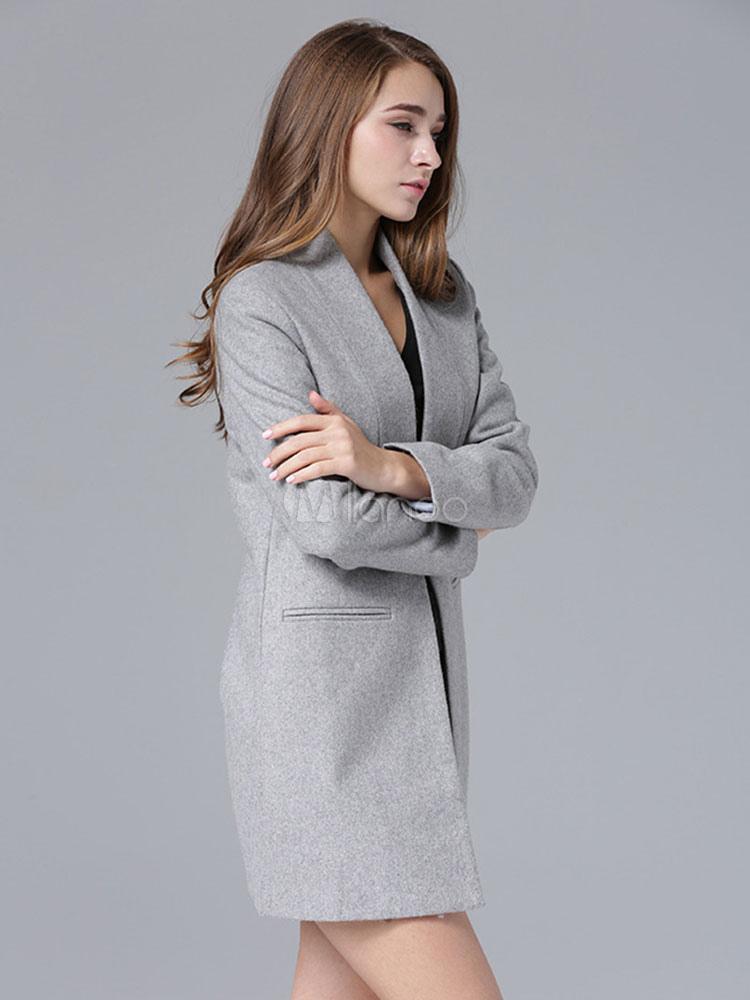 Grey Wool Coat Women S Oversize Long Sleeve Slim Fit