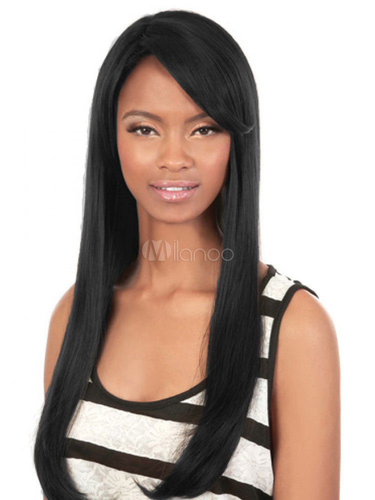 Buy Long Straight Women's Human Hair Wigs With Side Swept Bangs for $121.43 in Milanoo store