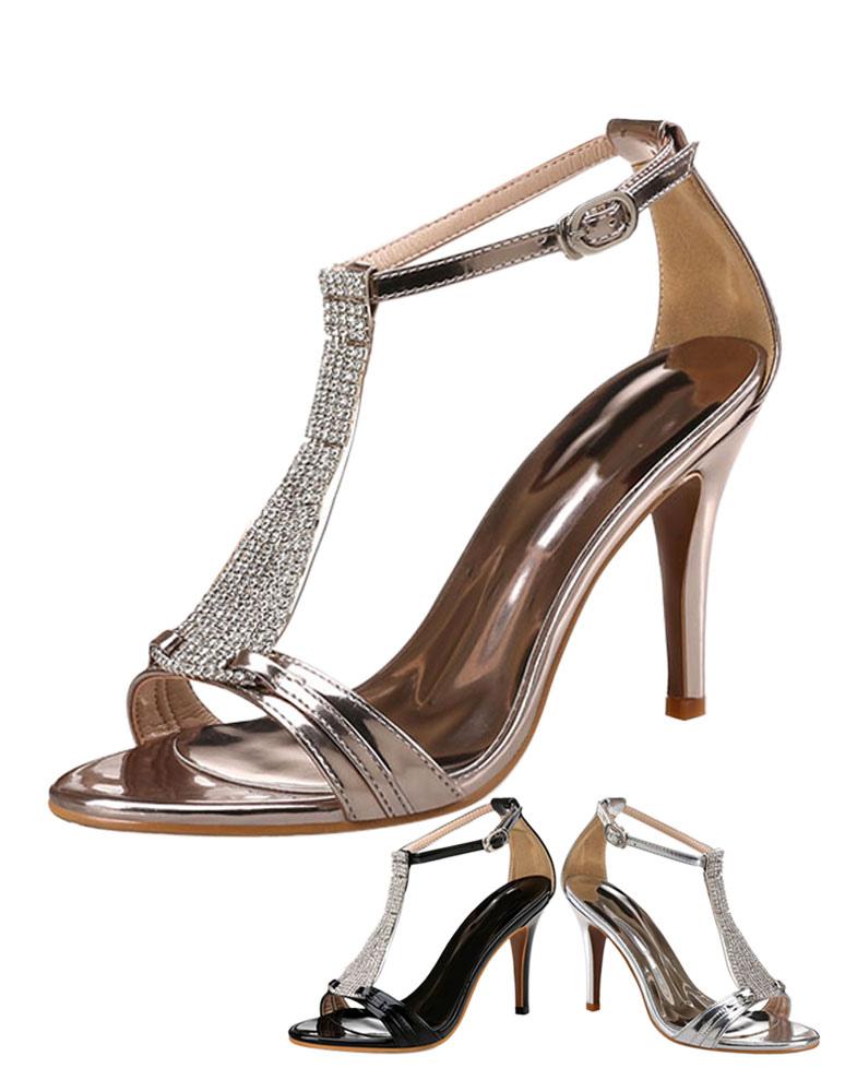 Women's Dress Sandals High Heels Metallic Rhinestones T Type 1920s Vintage Sandal Shoes