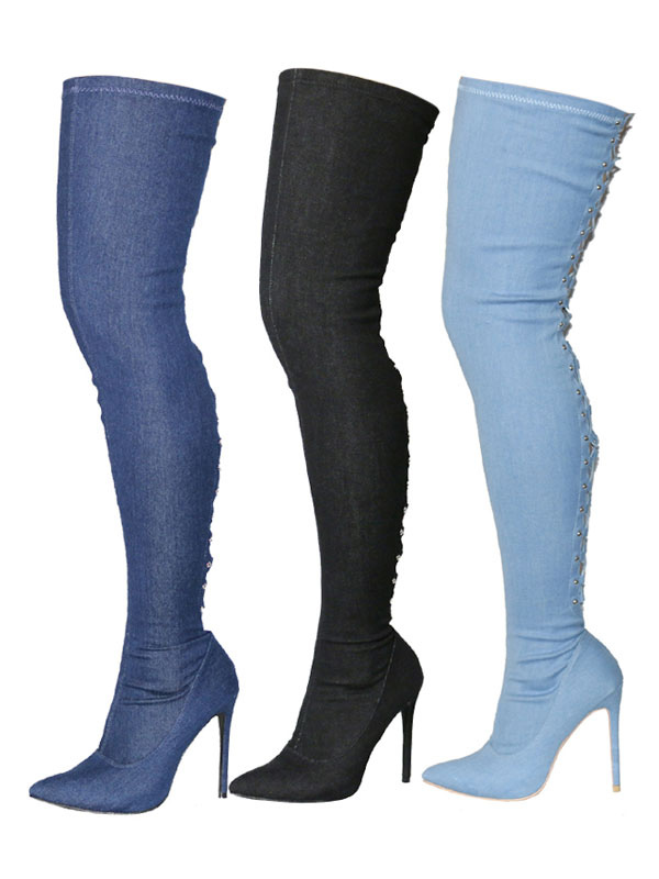 Over Knee Boots High Heel Women's Pointed Toe Lace Up Denim Thigh High Boots