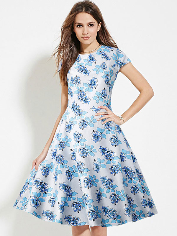 Buy Floral Vintage Dress Blue Women's Flowers Printed Cap Sleeve Round Neck Retro Dress for $28.49 in Milanoo store