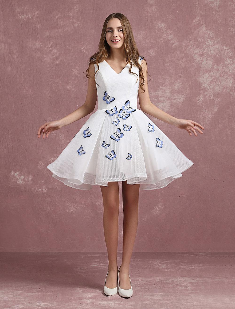 Weißes Cocktailkleid V Neck Schmetterling Perlen Homecoming Kleid ...