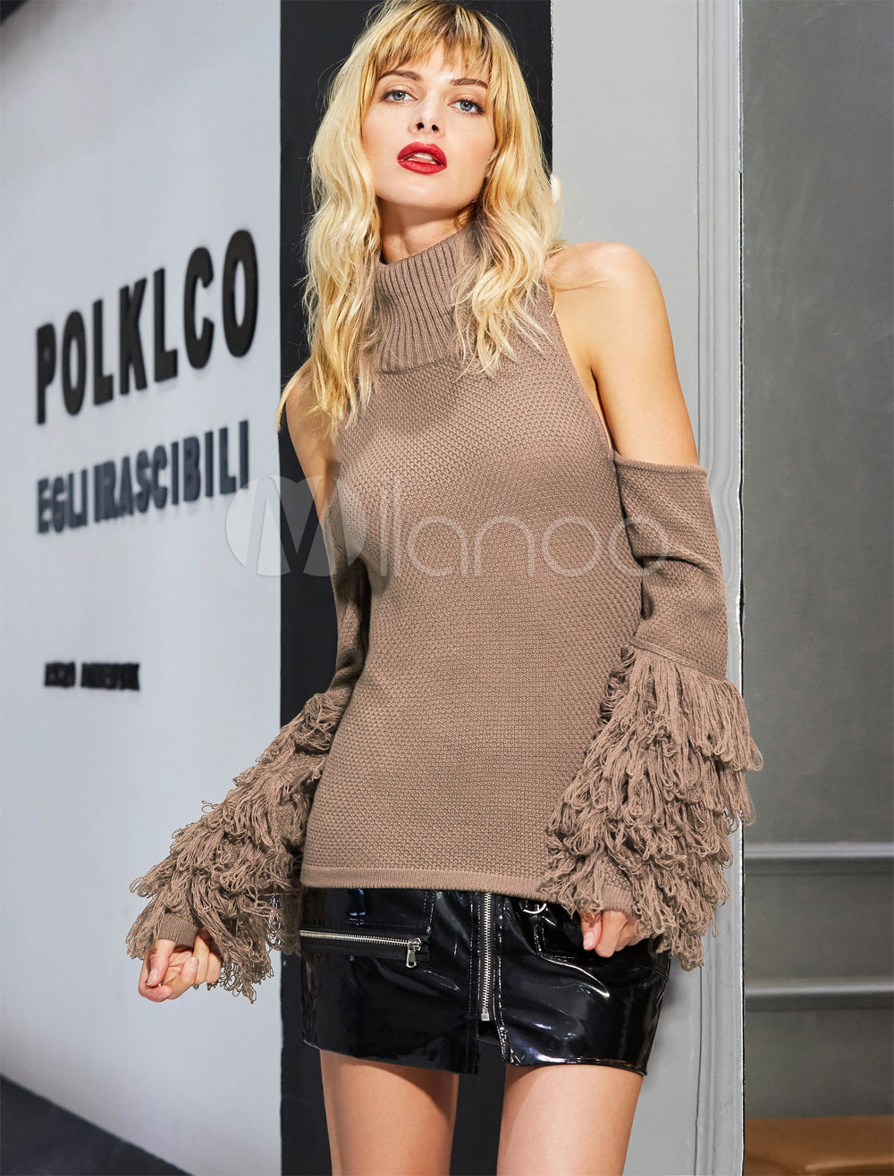 Brown Knit Sweater High Collar Long Sleeve Cold Shoulder Fringe Women's Top Cheap clothes, free shipping worldwide
