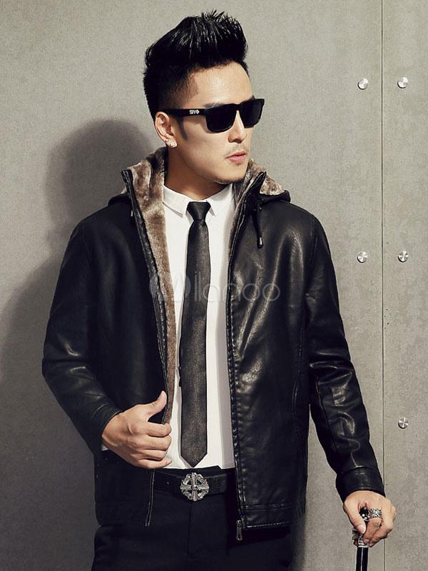 hot sale online ead2d 51bc0 Giacca di pelle uomo nero Stand collo Zip Up Slim Fit giacca invernale