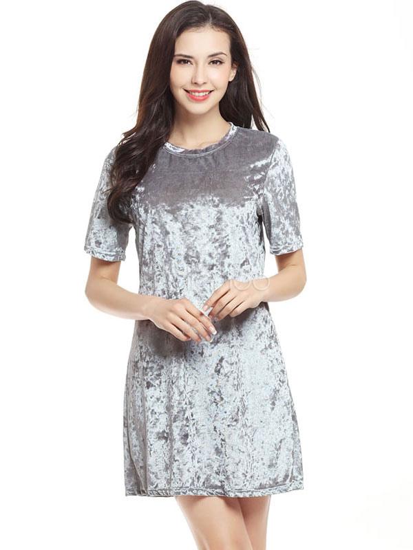 f976fed4f ... Shift-de-rosa vestido de veludo redondo pescoço vestido curto de manga  curta para ...