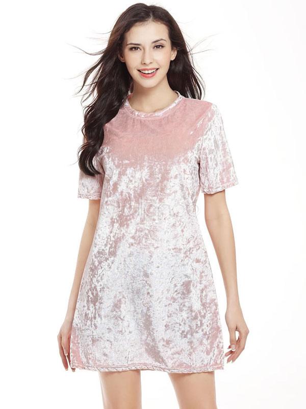 8c08ff7fdb14f Cambio de color de rosa vestido terciopelo ronda cuello manga corta vestido  corto para las mujeres ...
