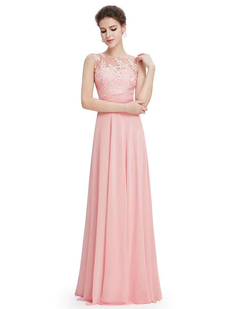 Buy Blush Prom Dress Soft Pink Backless Party Dress Chiffon Lace Applique Illusion Neckline A Line Floor Length Occasion Dress for $123.19 in Milanoo store