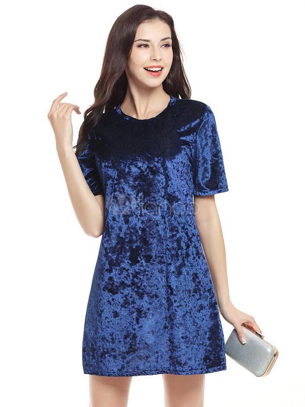Rosa Shift Kleid samt Runde Hals Kurzarm kurzes Kleid für ...