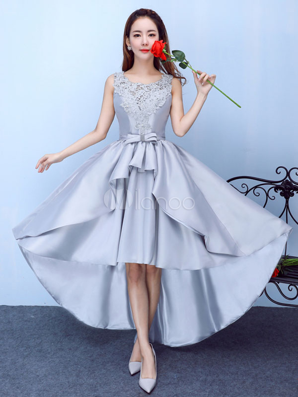 Silver Prom Dress Satin High Low Homecoming Dress Lace Applique Beading A Line Graduation Dress With Bow Sash