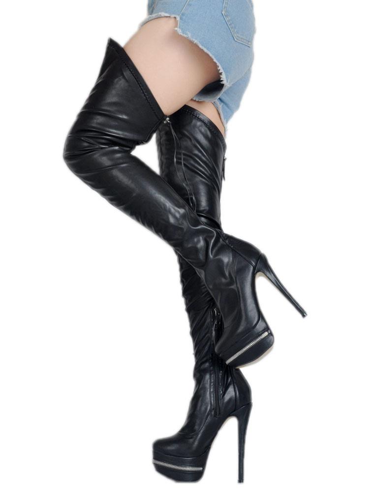 Botas sobre la rodilla de PU negras sexy oQMj0
