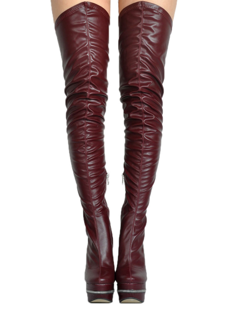 42679fcc103 ... Thigh High Boots High Heel Women s Black PU Leather Over Knee Boots-No.  ...