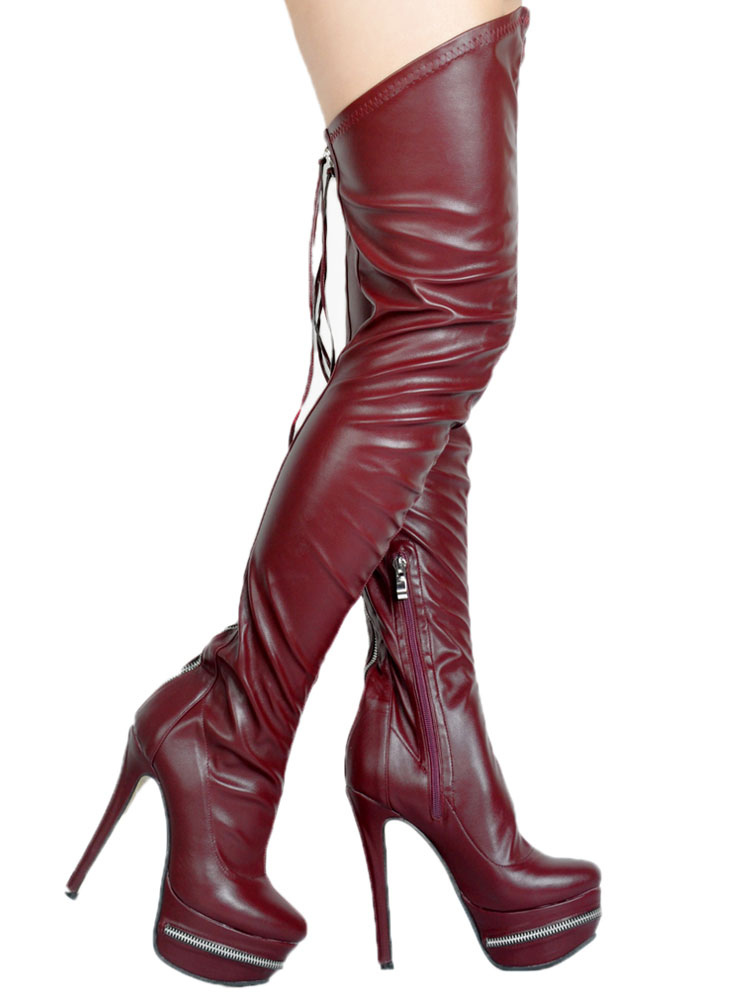 513e86fda1a ... Thigh High Boots High Heel Women s Black PU Leather Over Knee Boots-No.  ...