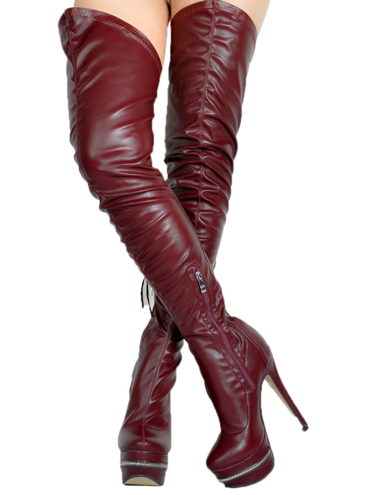 e25c56c1ee30 ... Thigh High Boots High Heel Women s Black PU Leather Over Knee Boots-No. 14 ...