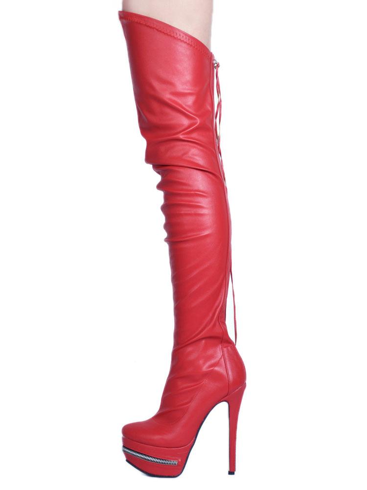 8a5de862a09 Thigh High Boots High Heel Women's Black PU Leather Over Knee Boots