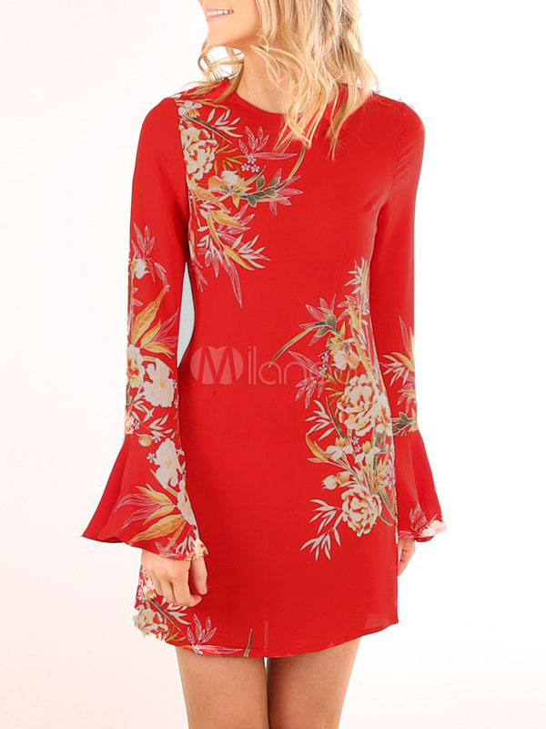 Buy Red Mini Dress Round Neck Bell Sleeve Floral Print Short Dresses For Women for $26.99 in Milanoo store