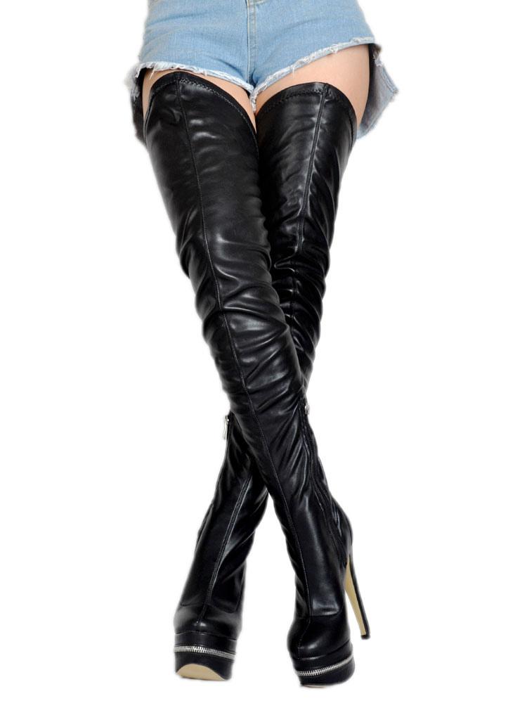 Botas sobre la rodilla de PU negras sexy KjBpj