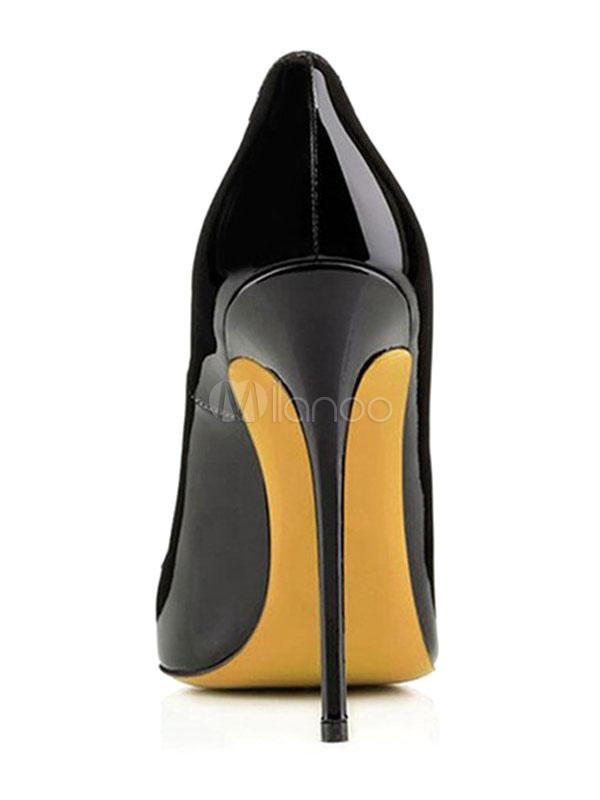 ... Negro Zapatos de Tacón Alto para Mujer 2019 Zapatos de Vestido con  Punta Puntiguada de Charol ... 990a5257c054