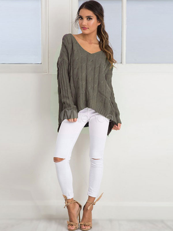 Sage Green Sweater V Neck Long Sleeve High Low Criss Cross Women's Pullover Sweater