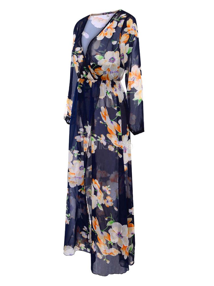 02f85a181a51 ... Black Long Dress Chiffon V Neck Long Sleeve Floral Print Split Maxi  Dresses For Women-