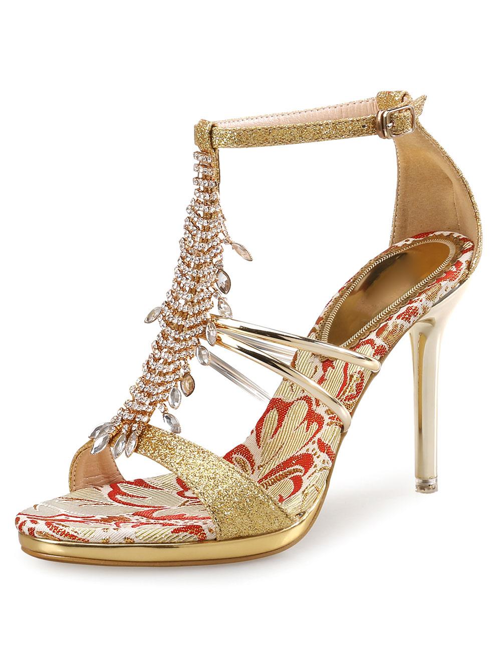 Glitter Dress Sandals High Heel Women's Gold Rhinestones Beaded T Type Bandage Ankle Strap Sandal Shoes
