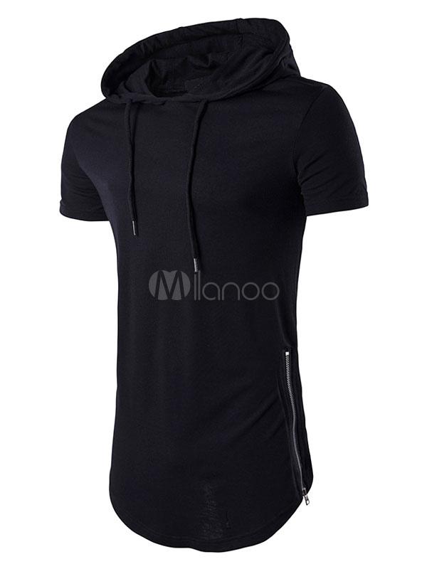 pretty nice d3b4a 57fa1 Maglietta con cappuccio da uomo T-shirt a maniche corte con coulisse Casual  Top nero