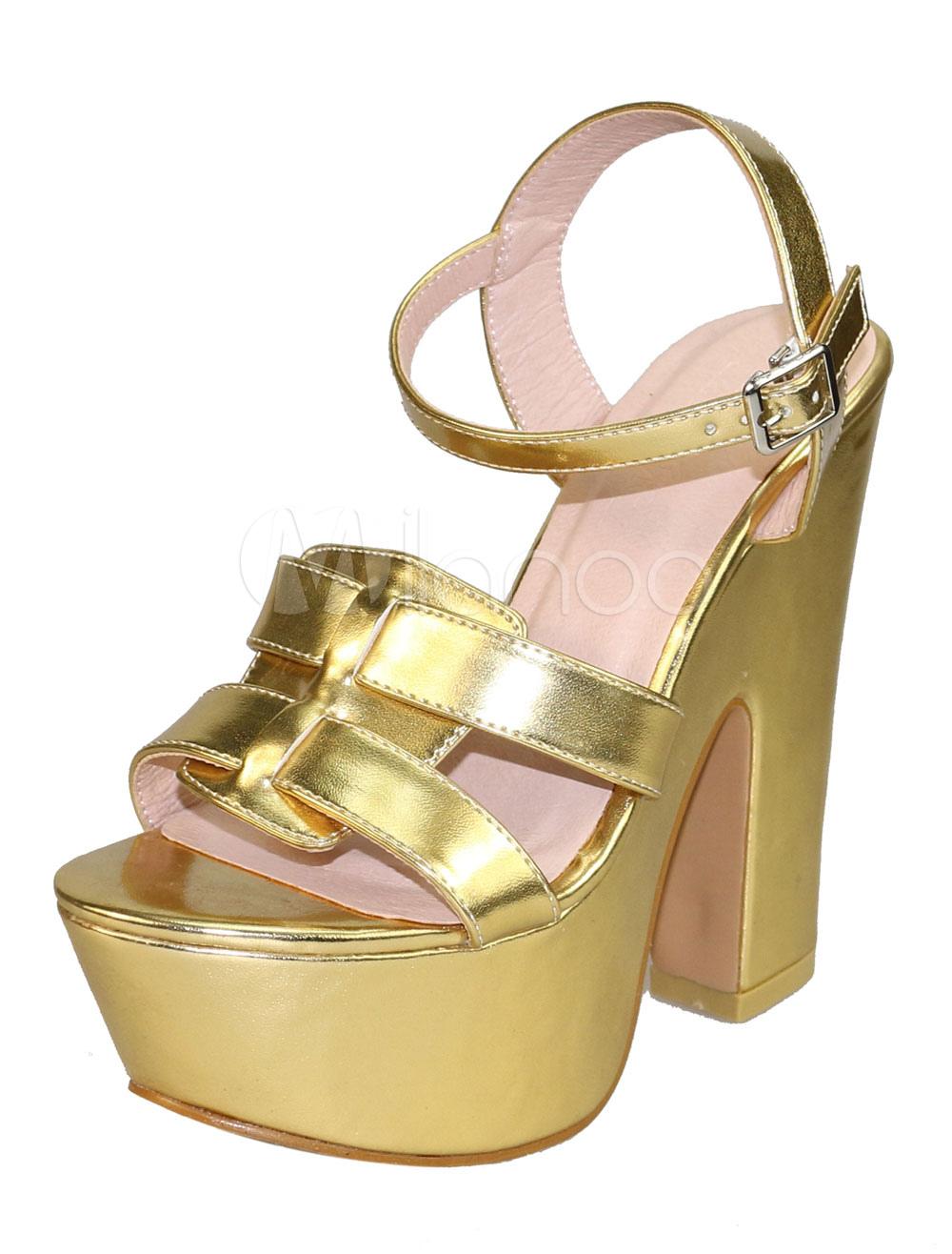 Gold Sexy Sandals Sky High Platform Open Toe Buckle Detail Sandal Shoes For Women