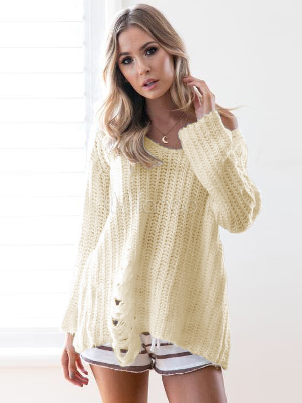 Ivory Pullover Sweater V Neck Long Sleeve Cut Out Women's Sweater