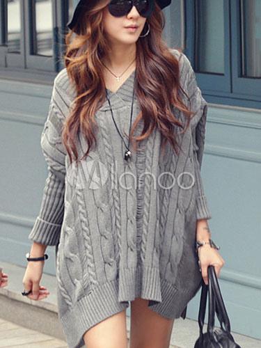 kabel stricken pullover frauen dolman sleeve oversize pullover mit v ausschnitt in grau wei. Black Bedroom Furniture Sets. Home Design Ideas