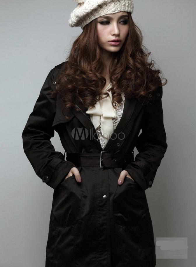 Black Hooded Coat Women's Lined Button Winter Coat With Sash