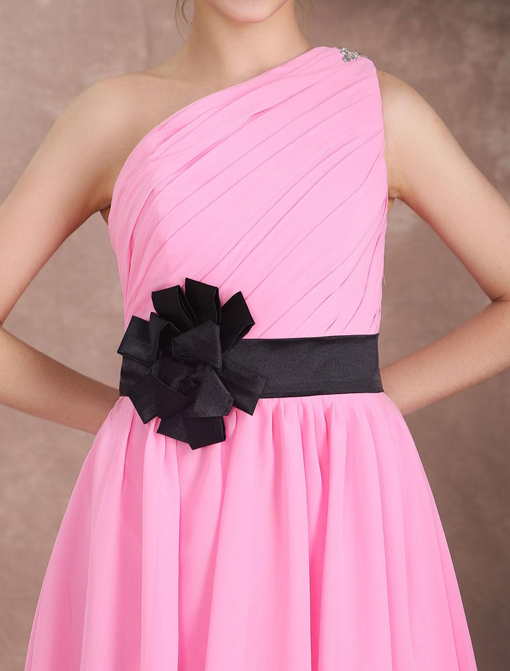Milanoo / One-Shoulder Bow Bridesmaid Dress Sash Chiffon Dress