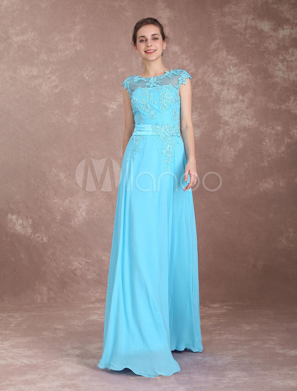 Prom Dresses Long Chiffon Backless Evening Dress Aqua Lace Applique ...