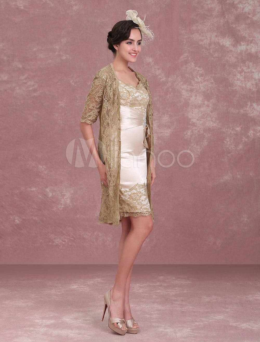 Mutter der Braut Kleider Champagner Mantel Spitze Keyhole Queen Anne ...