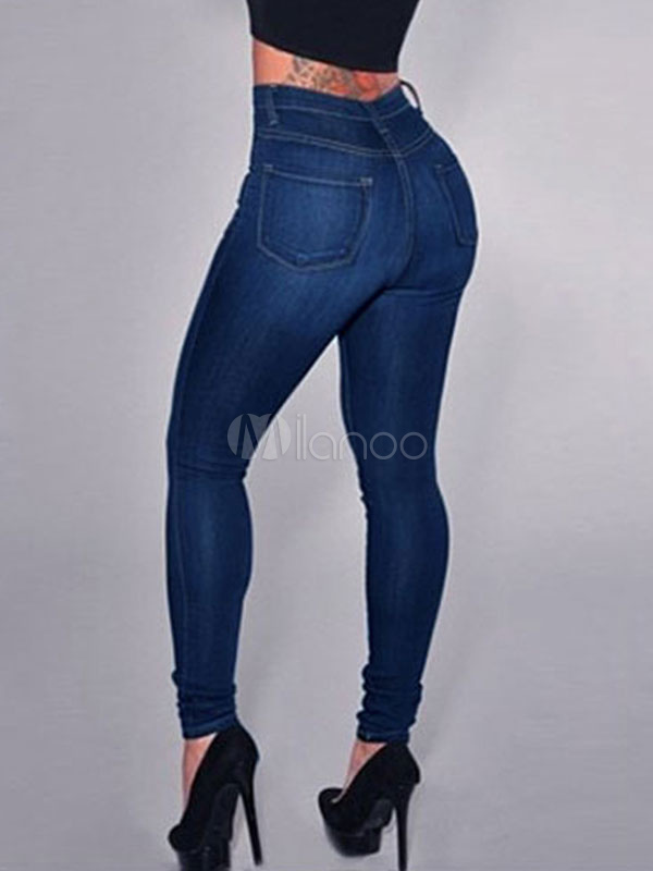 Women's Skinny Jeans High Waist Slim Fit Blue Denim Jeans Cheap clothes, free shipping worldwide
