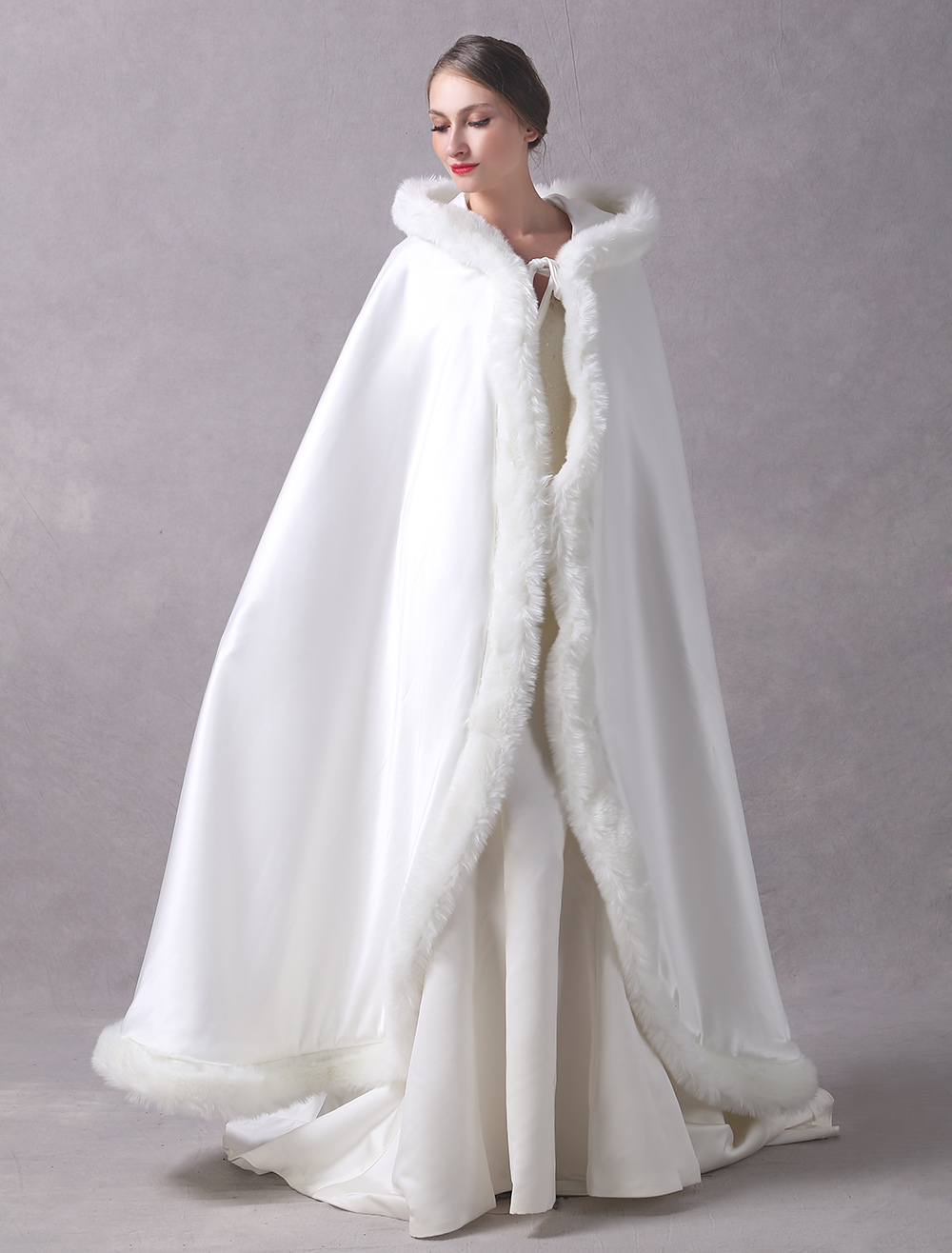 Satin Wedding Jacket Long Bridal Cape Cloak Fur Trim Ivory Hooded Ivory Winter Wrap Coat