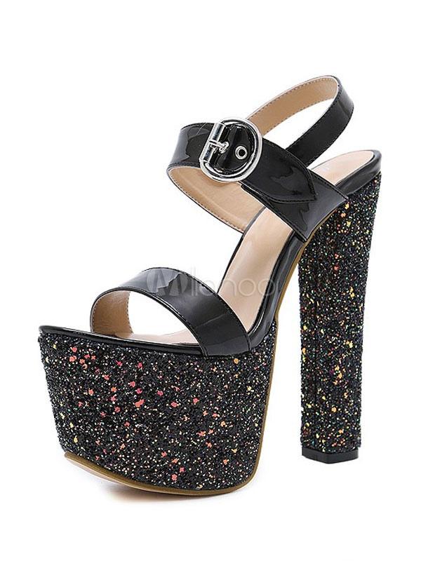 Black Sexy Shoes Glitter Platform Open Toe Buckle Detail Sandal Shoes Women High Heel Sandals