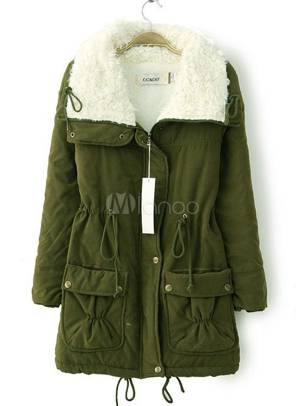 Women Parka Jacket Fur Shearling Collar Pockets Drawstring Green Overcoat