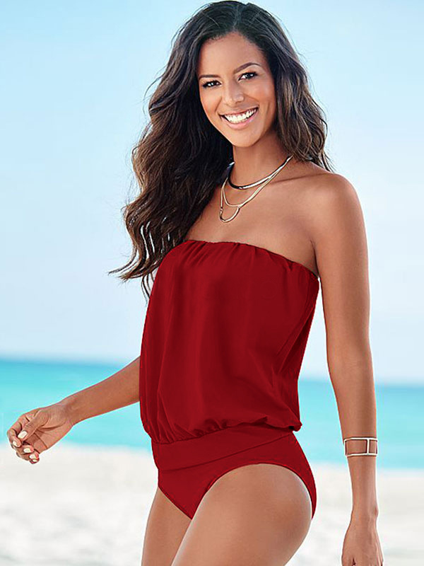 Buy One Piece Swimsuits Red Strapless Monokini Bathing Suits For Women for $9.09 in Milanoo store