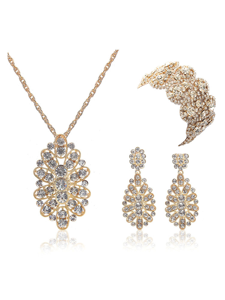 Bridal Jewelry Gold Rhinestone Floral Pendant Necklace With Dangle Earring And Wide Bracelet
