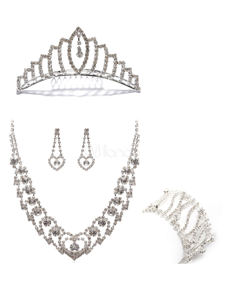 Rhinestone Bridal Jewelry Sweetheart Choker Necklace With Earring Bracelet And Wedding Crown